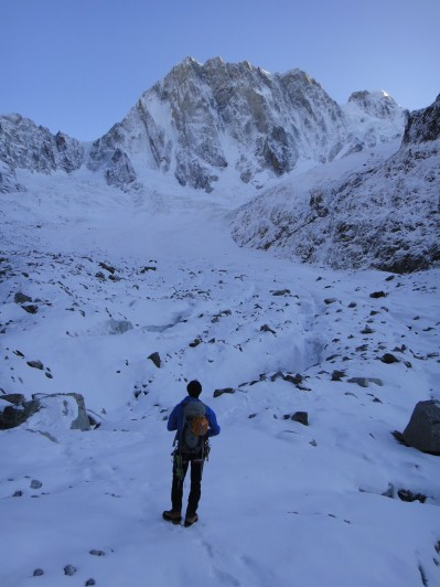 Andy Houseman looking on towards the Grandes Jorasses