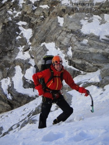 Jack Geldard assessing the safety levels on Peak 41
