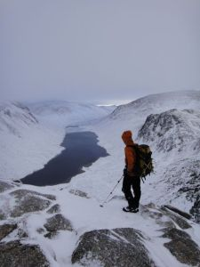 Paul Sass surveying the Loch Avon basin, not a bad place to go climbing on such a good day...