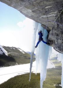 Nick Bullock looking wild on the top pitch of Call of the Curtain on the Icefields Parkway, Canada
