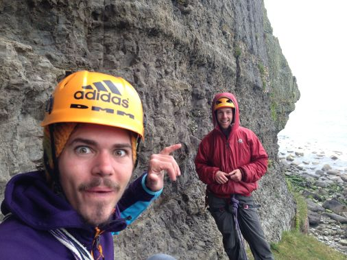 Visiting Austrian Alex Luger and UKC Assistant Editor Duncan Campbell underneath Cripple Creek, Craig Dorys