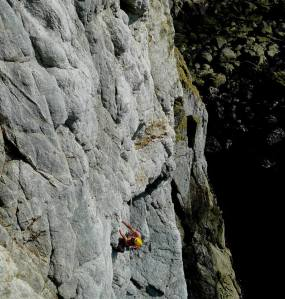 Getting pumped on the crux section of Alien, Main Cliff Gogarth