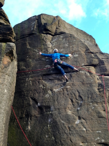 James Turnbull employing the traditional side runner protection on Cool Moon, Curbar