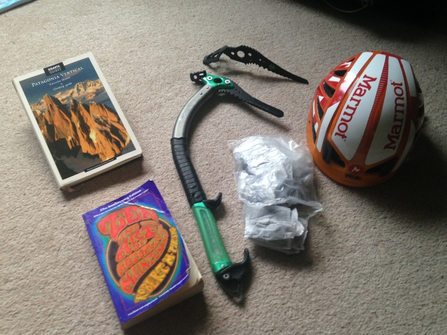 A guidebook, a pair of ice axes, yorkshire tea, a fully branded helmet and a soul-searching philosophical book - what more could I possibly need?