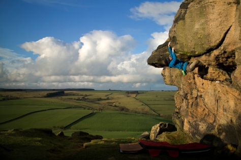Duncan Campbell making the most of the evening light during our single day of climbing in January