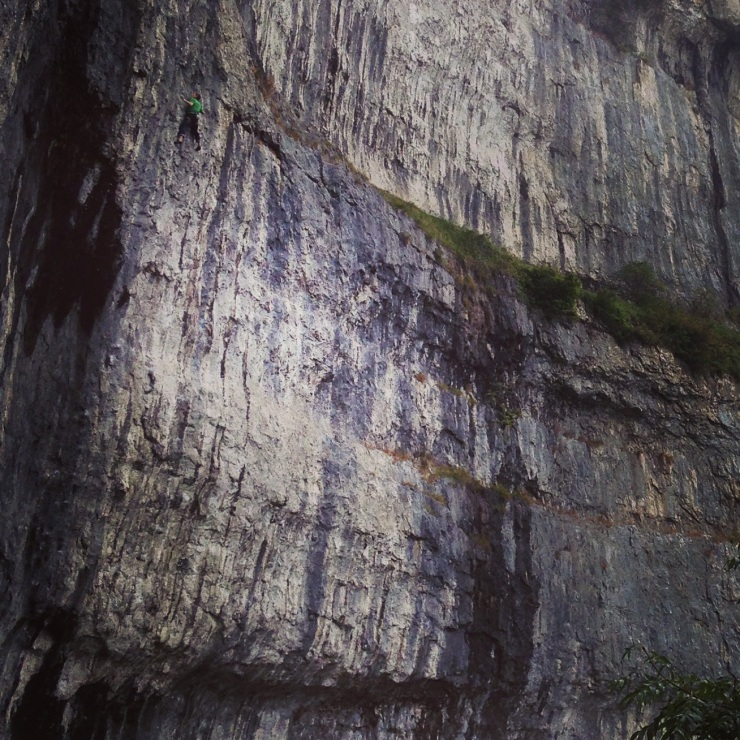 Toby Dunn on one of the actual Yorkshire Triple Crown Routes - The Groove at Malham Cove