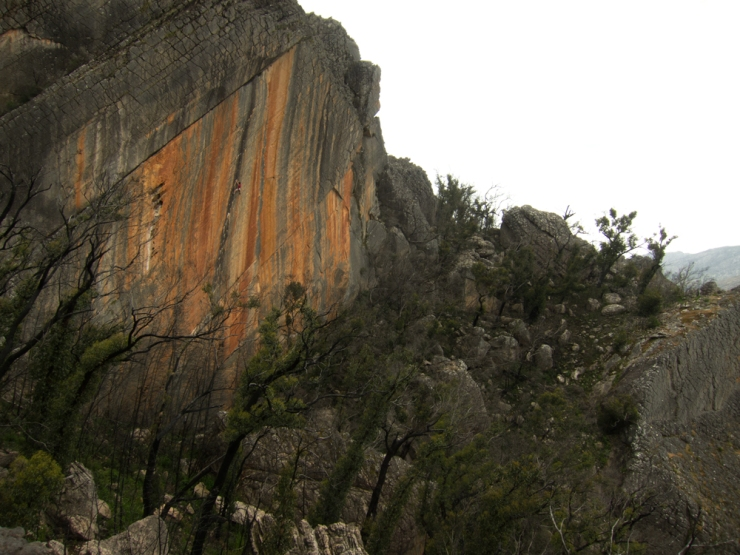 Arguably one of the most perfect routes in the world, Archimedes Principle (25) at the Eureka Walls, Southern Grampians (It's a shame about the lack of blue sky)