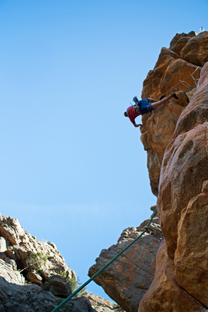 When you're taking a shot of one of the most iconic routes in the world, why get the best angle? Here's a bum-shot of Gaz Marshall on Kachoong (21) at Arapiles.