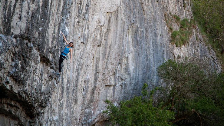 Penny Orr battling with the redpoint demons on Tin Of, whilst they may be different to trad demons they're still very real!