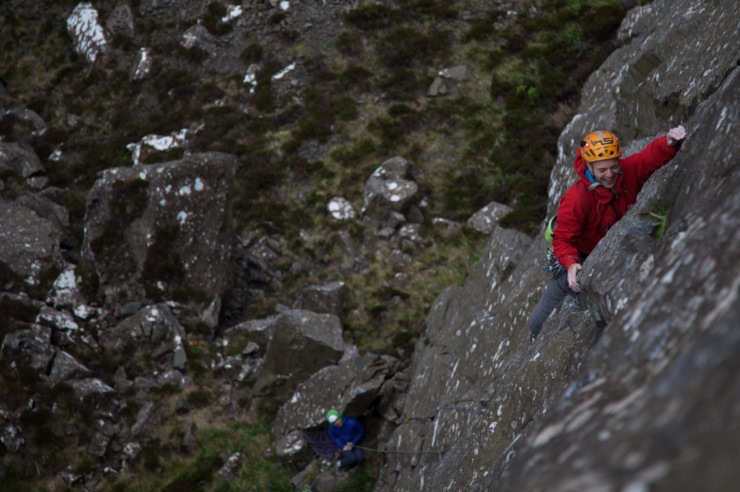 Adam Booth laughing his way up Track of the Cat (E4 6a), without doubt one of the best routes of it's grade in the country