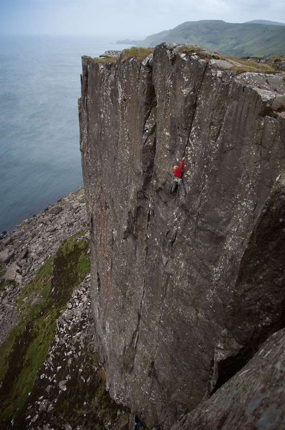 What a wall?!? Adam Booth high up on Track of the Cat (E4 6a)