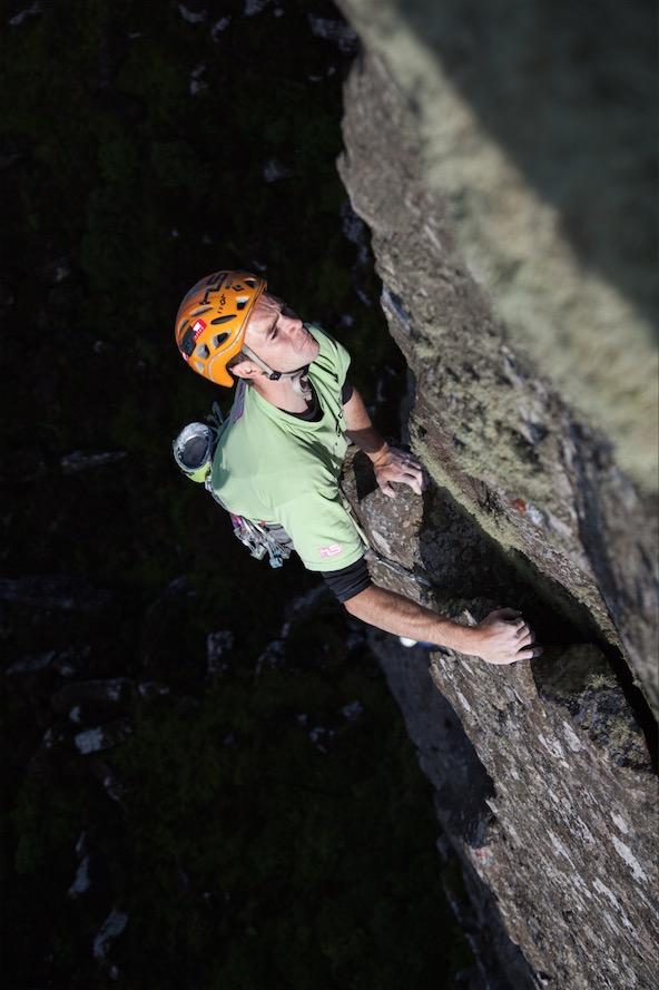 Adam Booth high up on Halloween Arete (E5 6b)