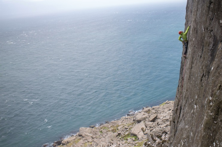 Duncan Campbell high up on Jolly Roger (E3 6a)