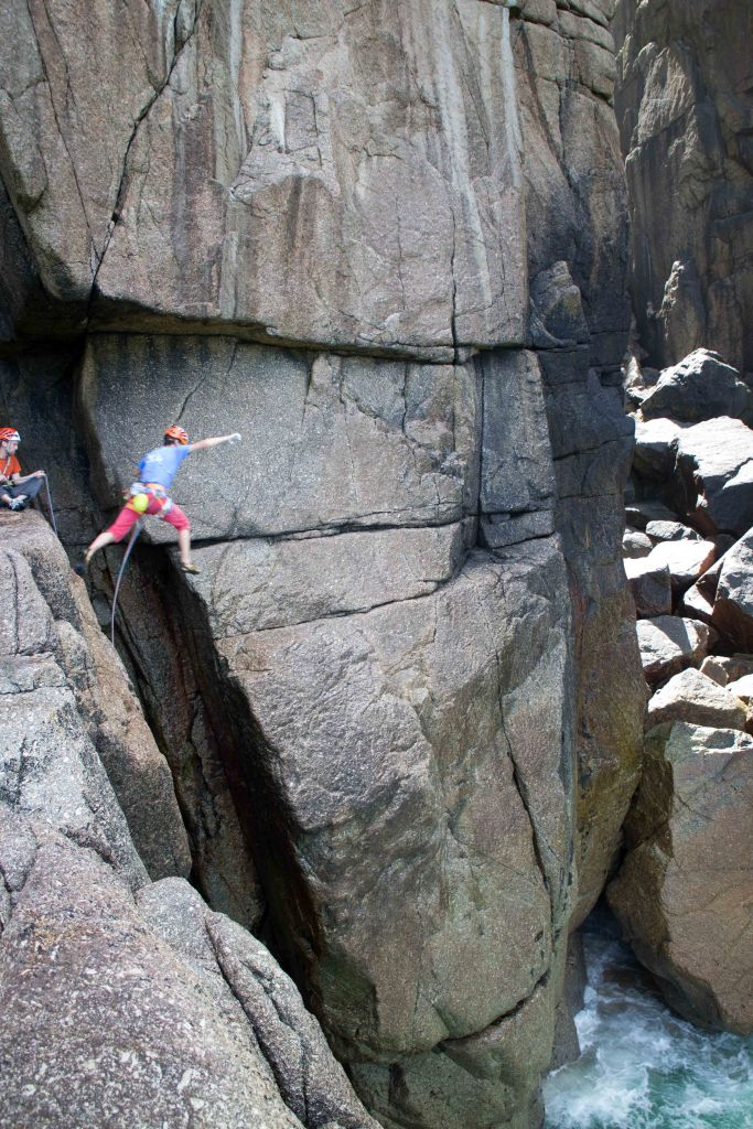 The Crevasse Jump into Bosigran's Great Zawn  Photo: Sophie Whyte