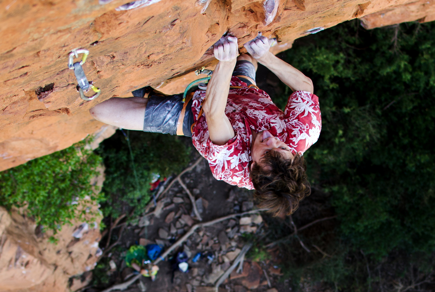 Locking down at the top of Monster (29), the classic pump-fest on Boven's 'God No!' Wall / Photo: Nick Brown