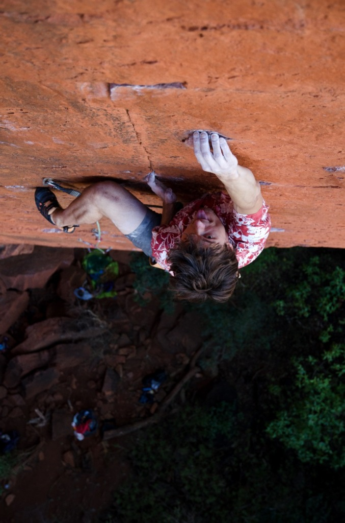 Mid-crux on arguably the most famous route in South Africa, Lotter's Desire (27) / Photo: Nick Brown
