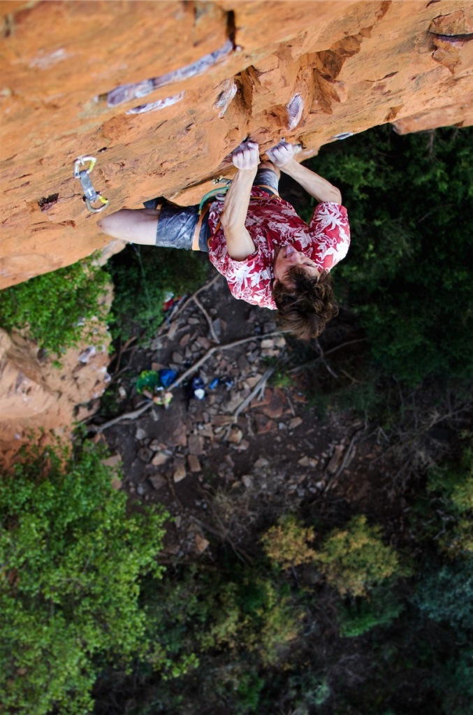 Locking down at the top of Monster (29), the classic pump-fest on Boven's 'God No!' Wall