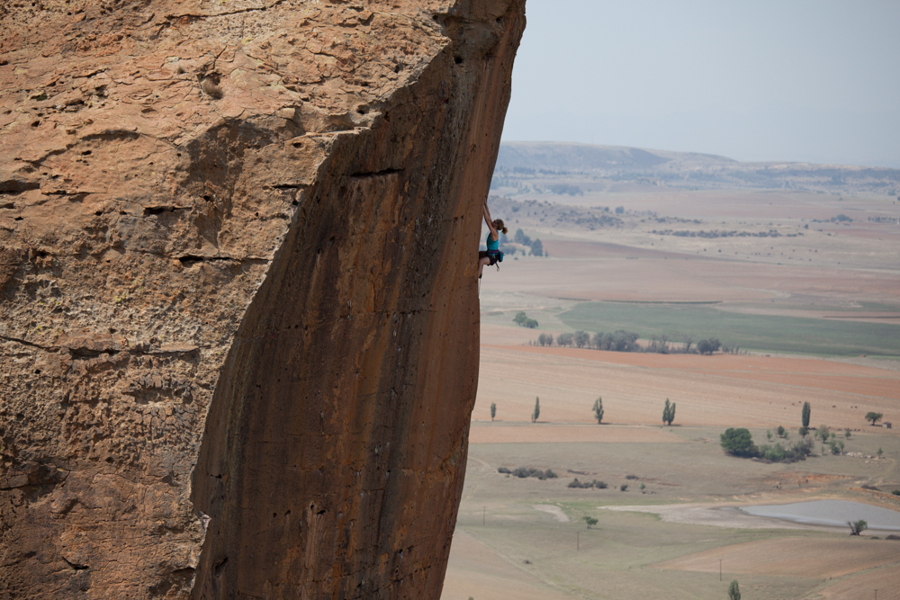 Katy Whittaker high up on one of Wow Prow's finest lines, Death Camp (31)