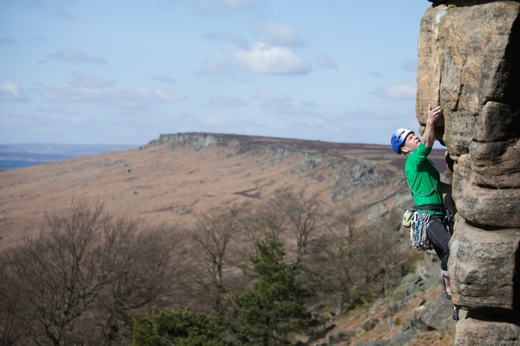 Gaz Marshall getting stuck into the final crack of Right Unconquerable, during an unseasonably warm spell in late March.