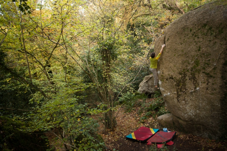 Undoubtedly one of the best 7a+s in the UK: Nether Edge, Bovey Woods
